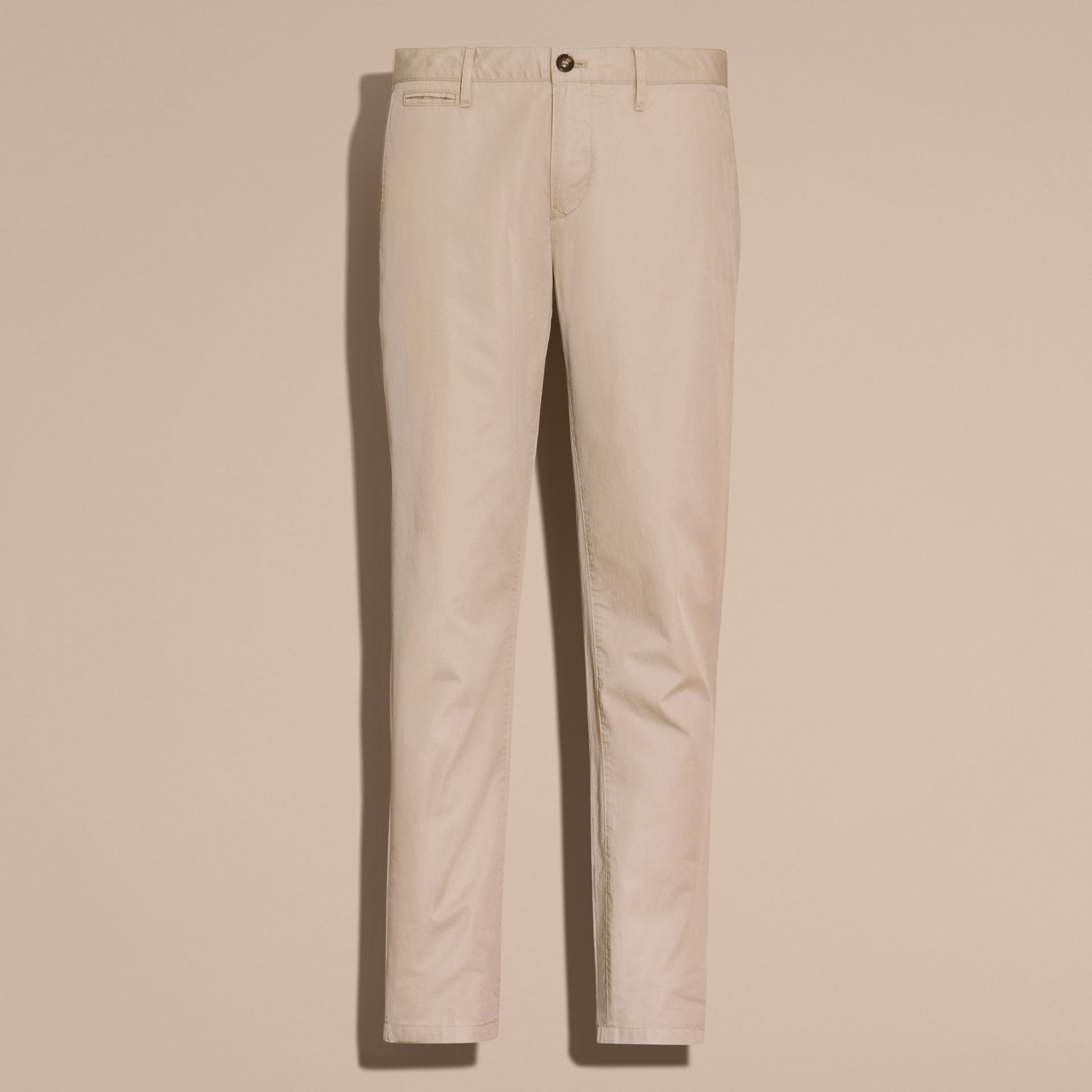 Slim Fit Cotton Chinos in Taupe - Men | Burberry - gallery image 4