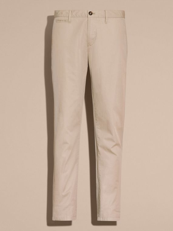 Slim Fit Cotton Chinos in Taupe - Men | Burberry - cell image 3