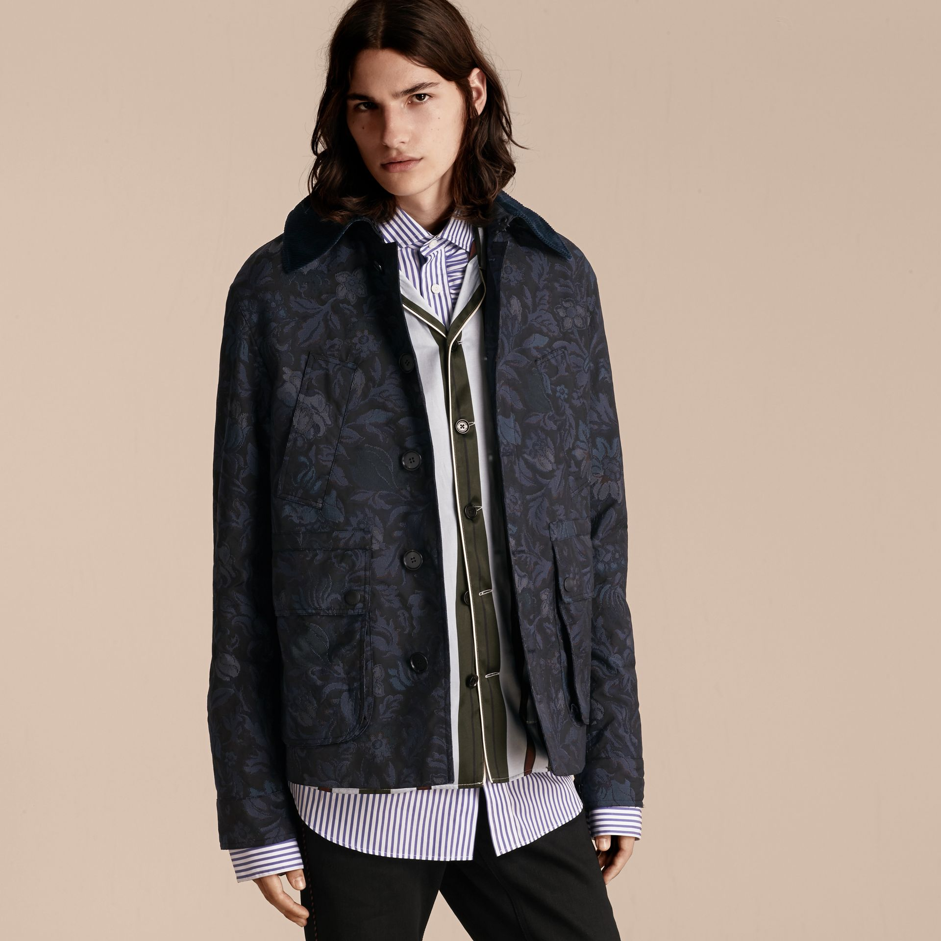 Navy Floral Jacquard Field Jacket with Corduroy Collar - gallery image 7