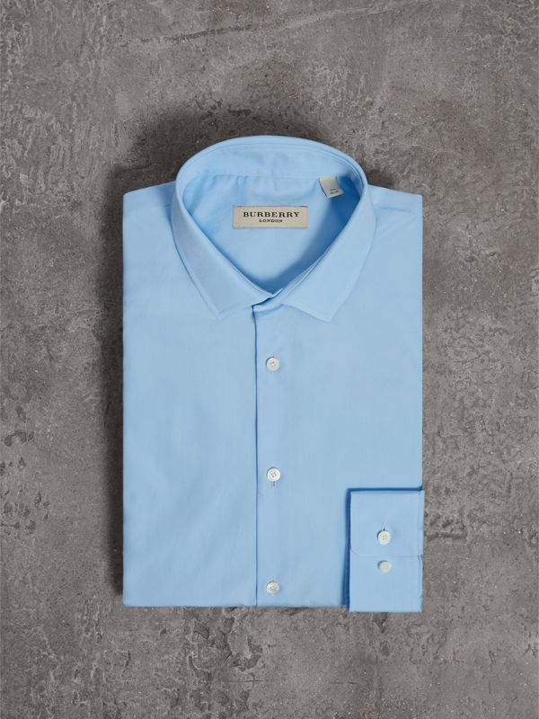 Slim Fit Cotton Poplin Shirt in City Blue - Men | Burberry - cell image 3