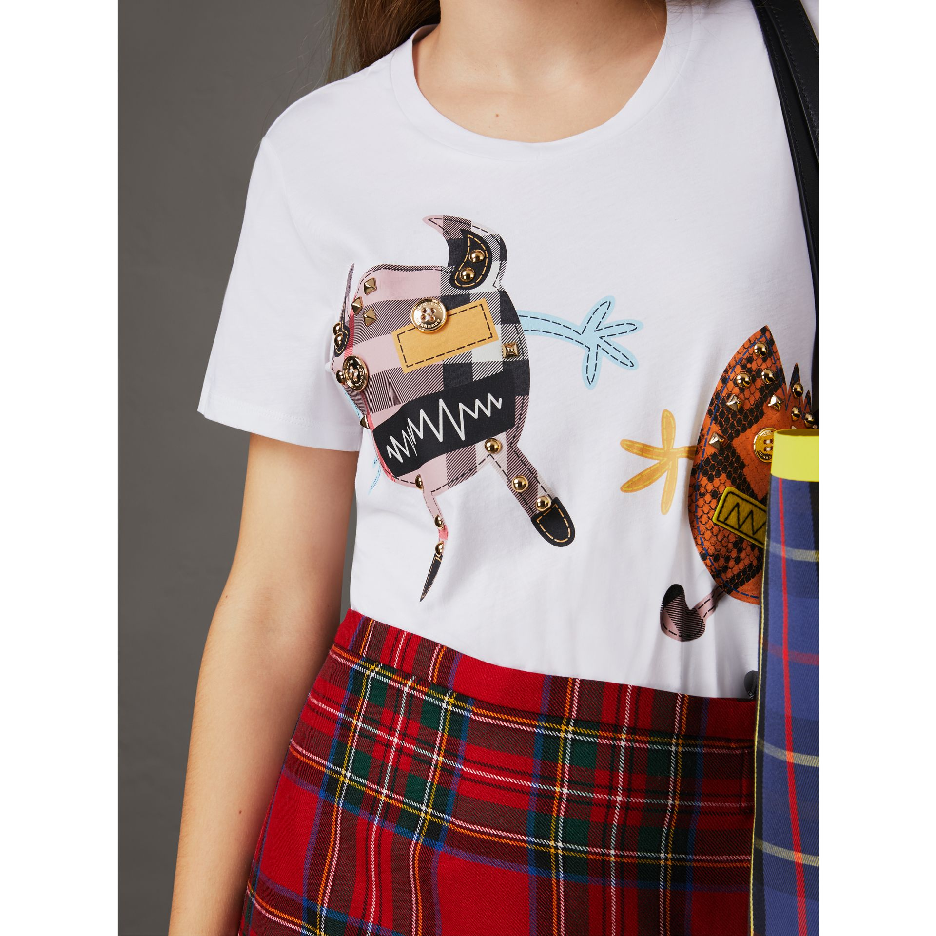Creature Motif Cotton T-Shirt in White - Women | Burberry - gallery image 2