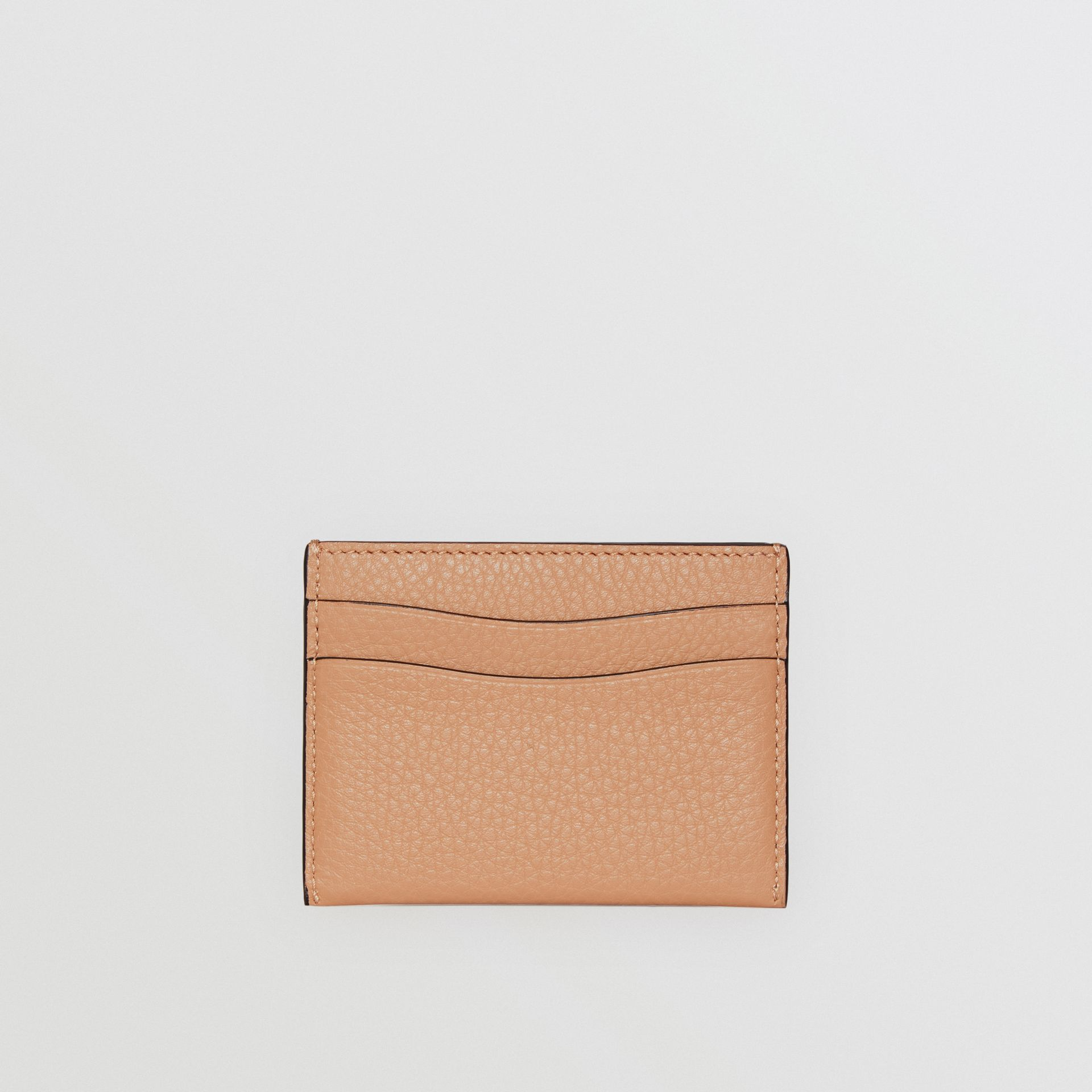 Grainy Leather Card Case in Light Camel - Women | Burberry - gallery image 4