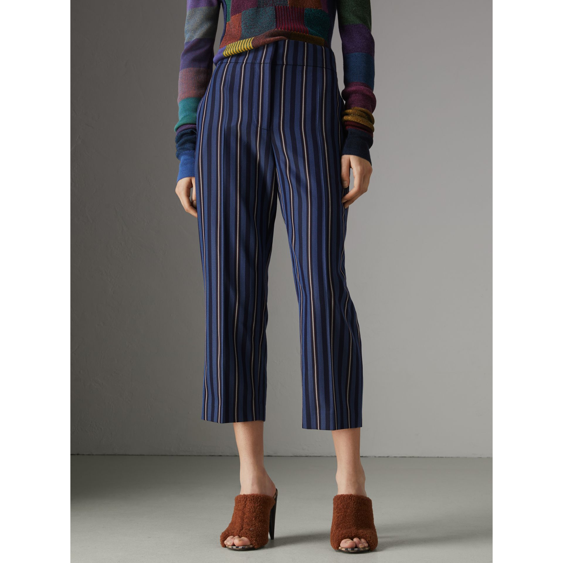 Striped Wool Blend Cropped Trousers in Navy/light Blue - Women | Burberry - gallery image 5