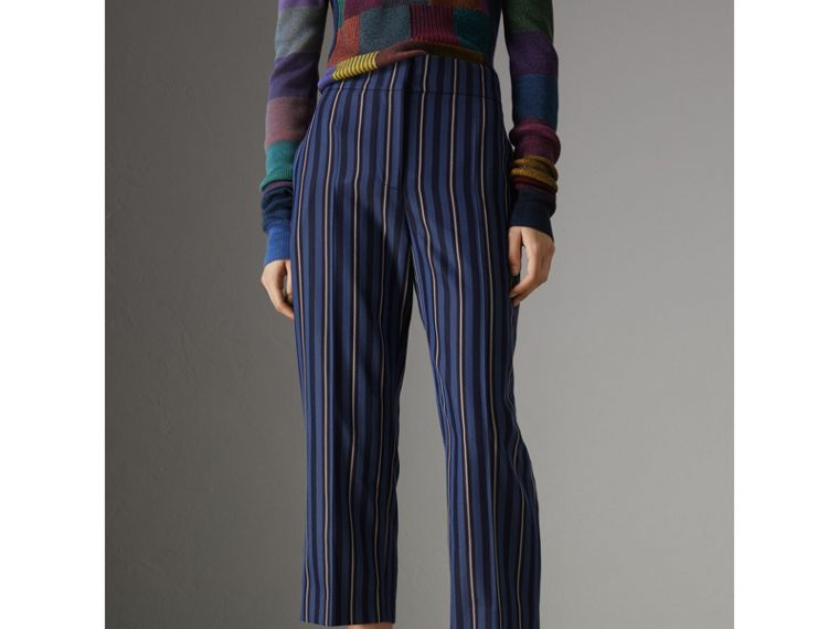 Striped Wool Blend Cropped Trousers in Navy/light Blue - Women | Burberry United States - cell image 4