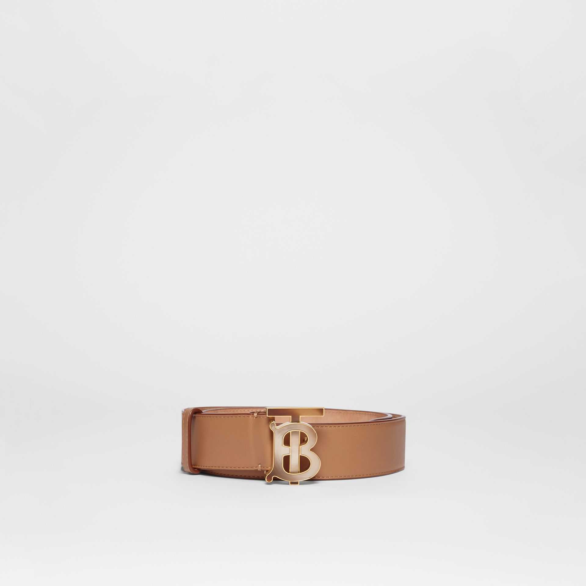 Monogram Motif Leather Belt in Light Camel - Women | Burberry - gallery image 2