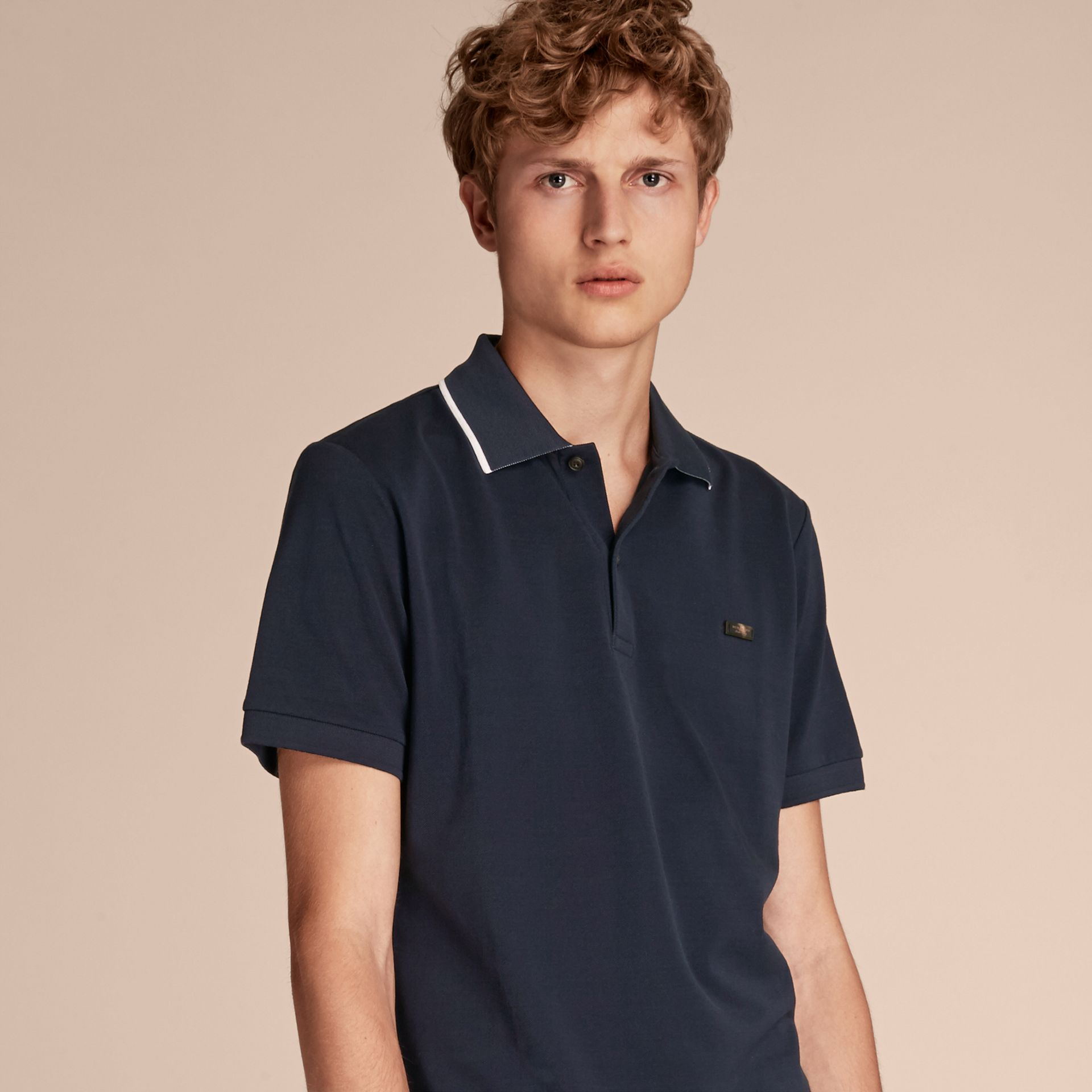 Tipped Collar Cotton Piqué Polo Shirt in Navy - Men | Burberry - gallery image 6