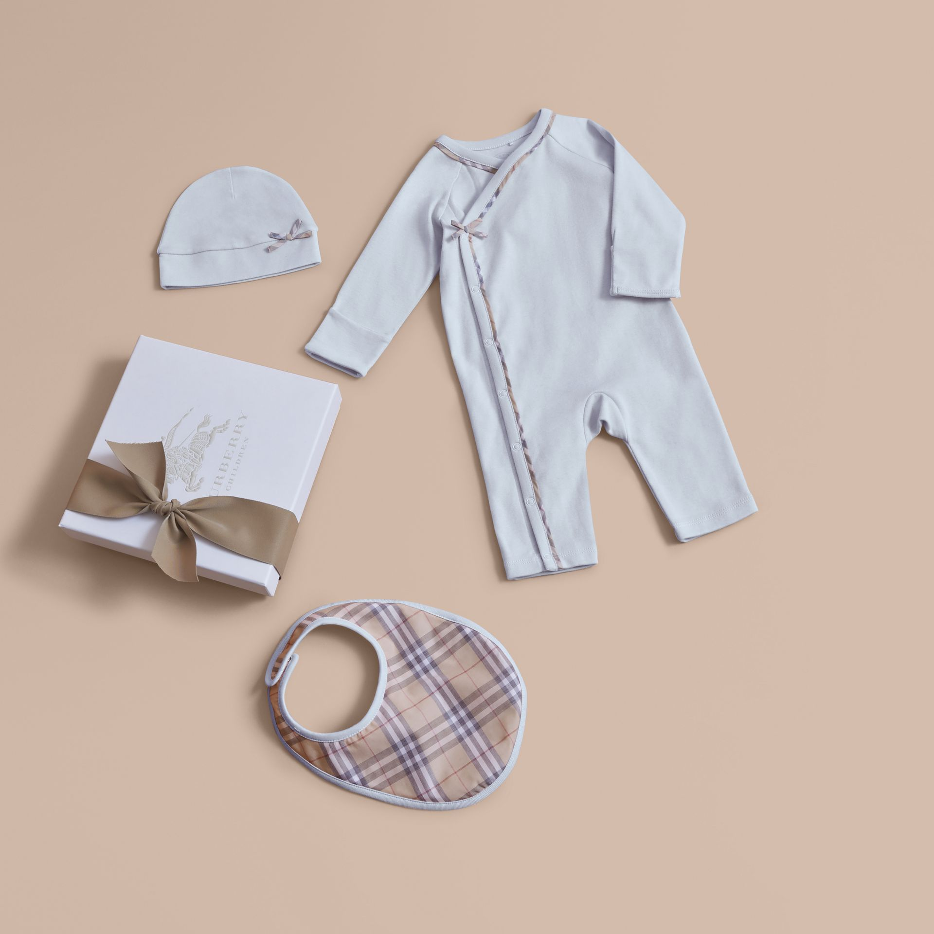 Cotton Three-piece Baby Gift Set in Ice Blue | Burberry - gallery image 1