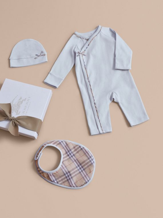 Cotton Three-piece Baby Gift Set in Ice Blue