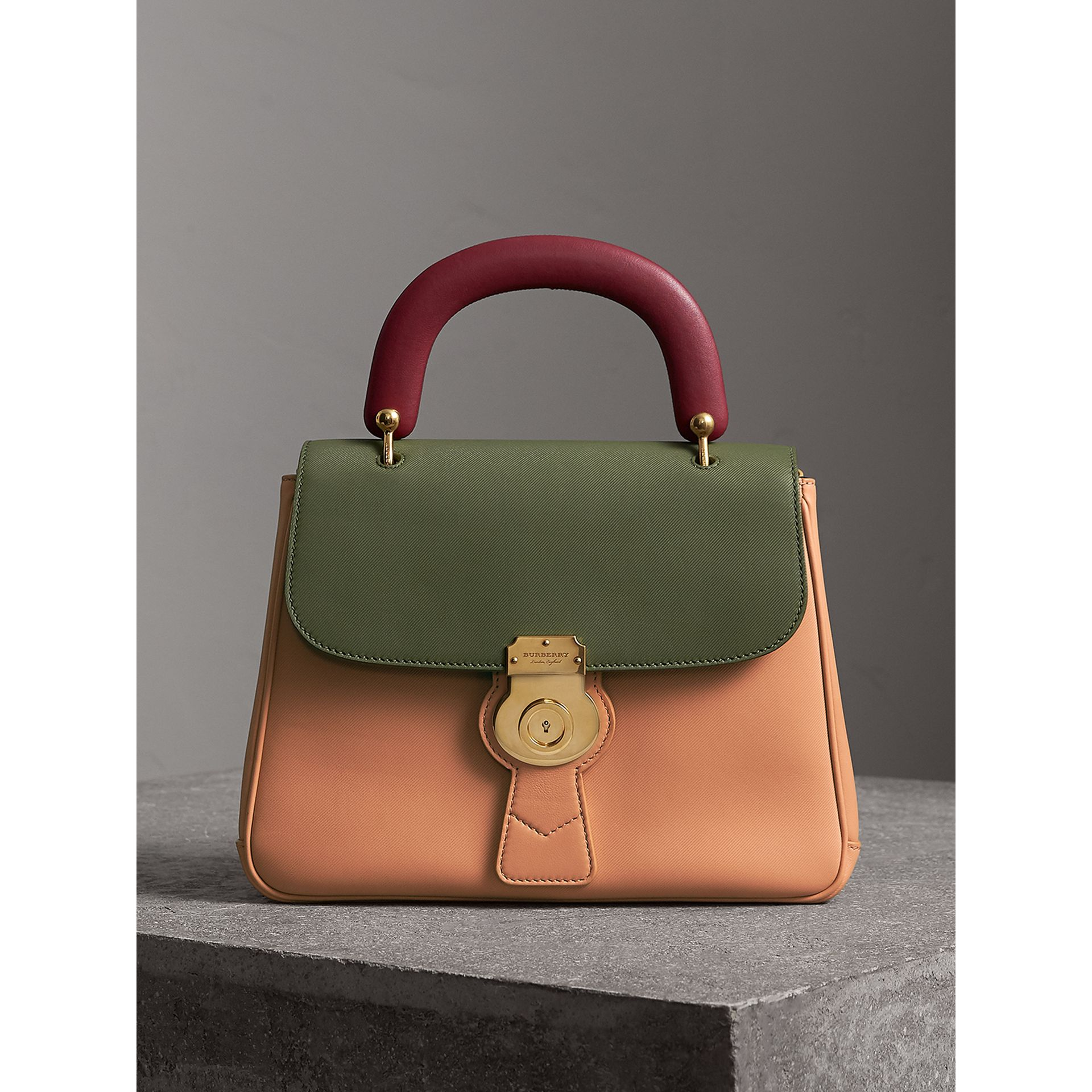 The Medium DK88 Top Handle Bag in Pale Clementine/moss Green - Women | Burberry - gallery image 0