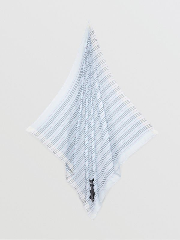Monogram Icon Stripe Wool Silk Large Square Scarf in Pale Blue | Burberry - cell image 3