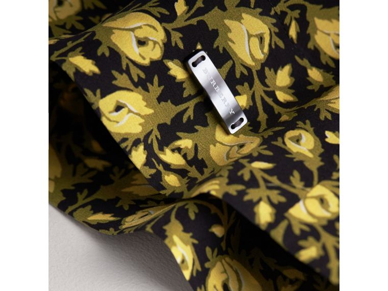 Frilled Floral Print Silk Dress in Pale Saffron Yellow - Girl | Burberry - cell image 1