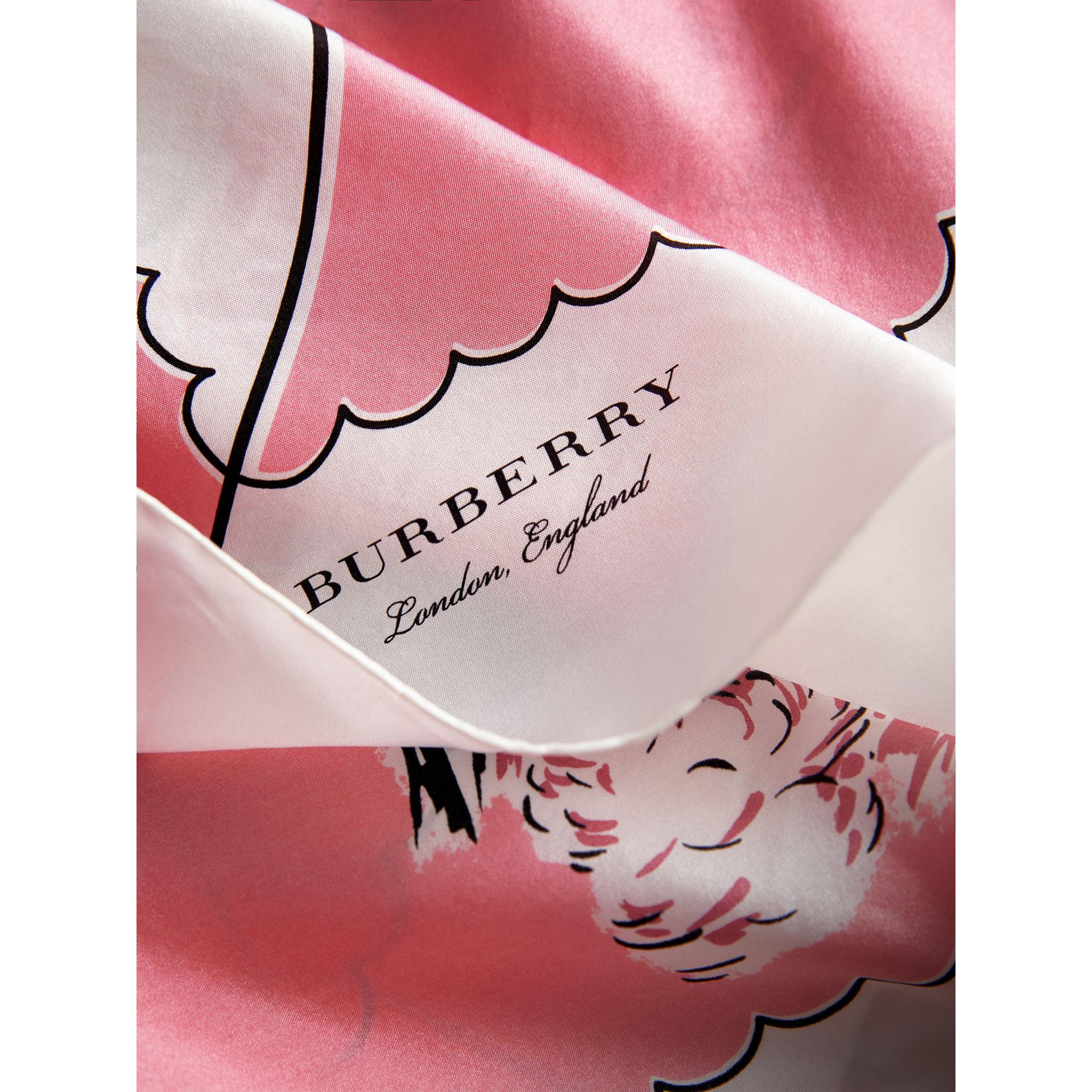 London Print Silk Square Scarf in Rose Pink | Burberry - gallery image 1