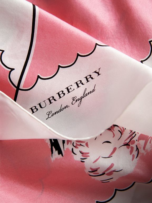 London Print Silk Square Scarf in Rose Pink - Women | Burberry - cell image 1