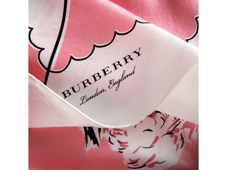 London Print Silk Square Scarf in Rose Pink | Burberry - cell image 1
