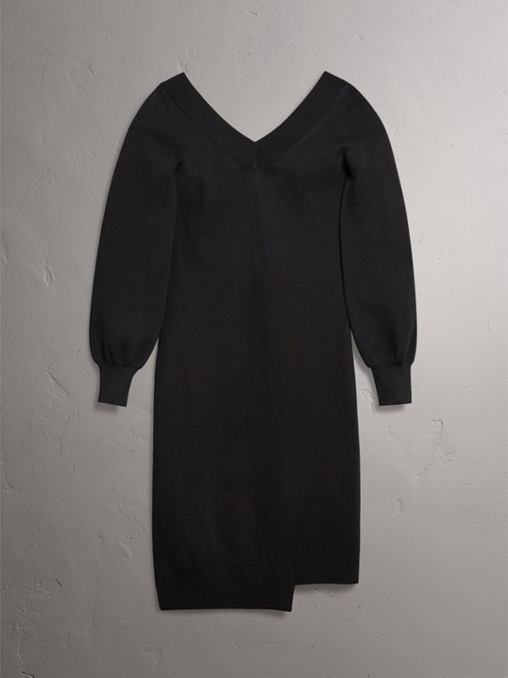 Asymmetric Knitted V-neck Dress in Black - Women | Burberry United Kingdom - cell image 3