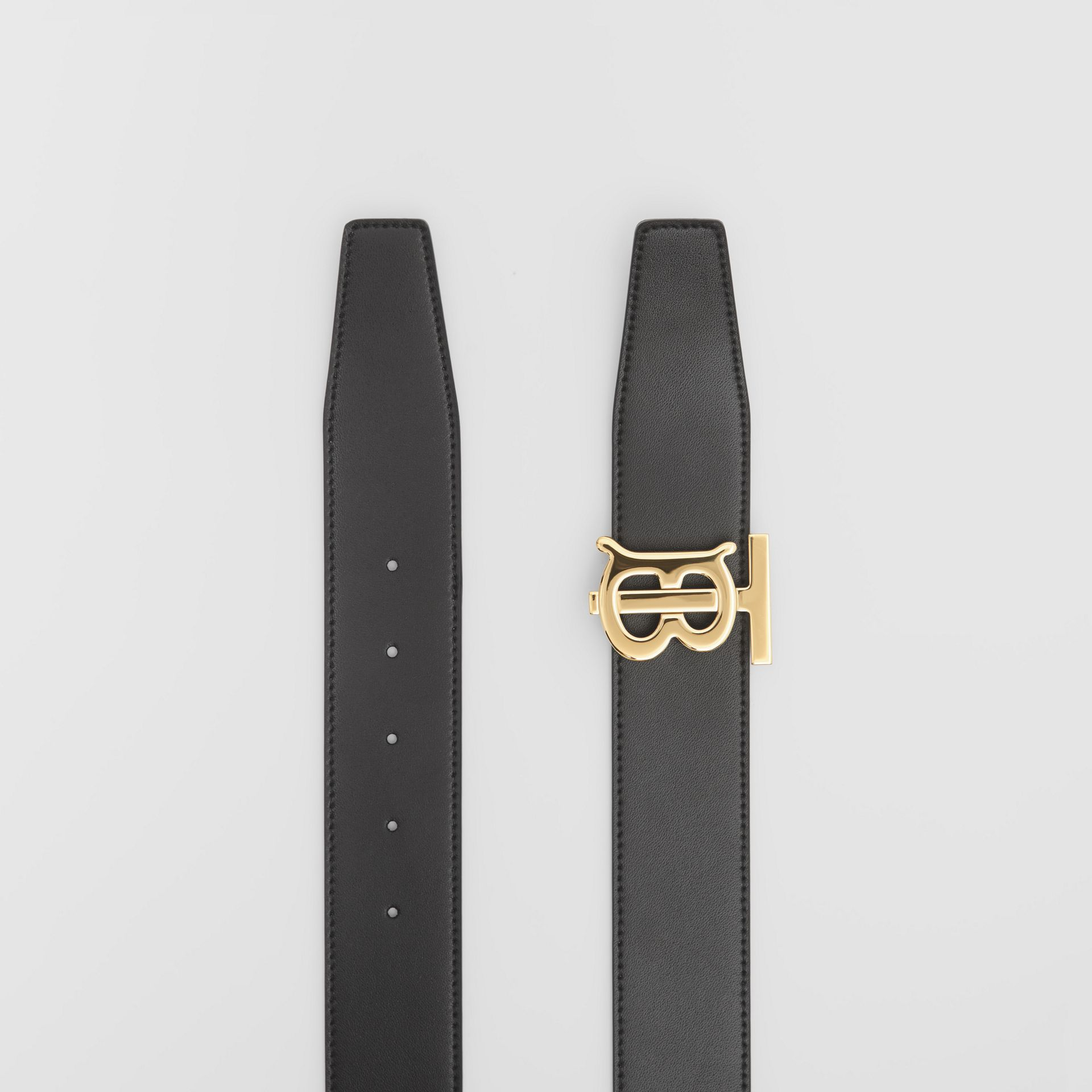 Reversible Monogram E-canvas and Leather Belt in Bridle Brown - Men | Burberry United Kingdom - gallery image 7