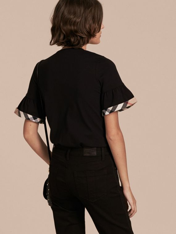 Stretch Cotton T-shirt with Check Trim Ruffles Black - cell image 2