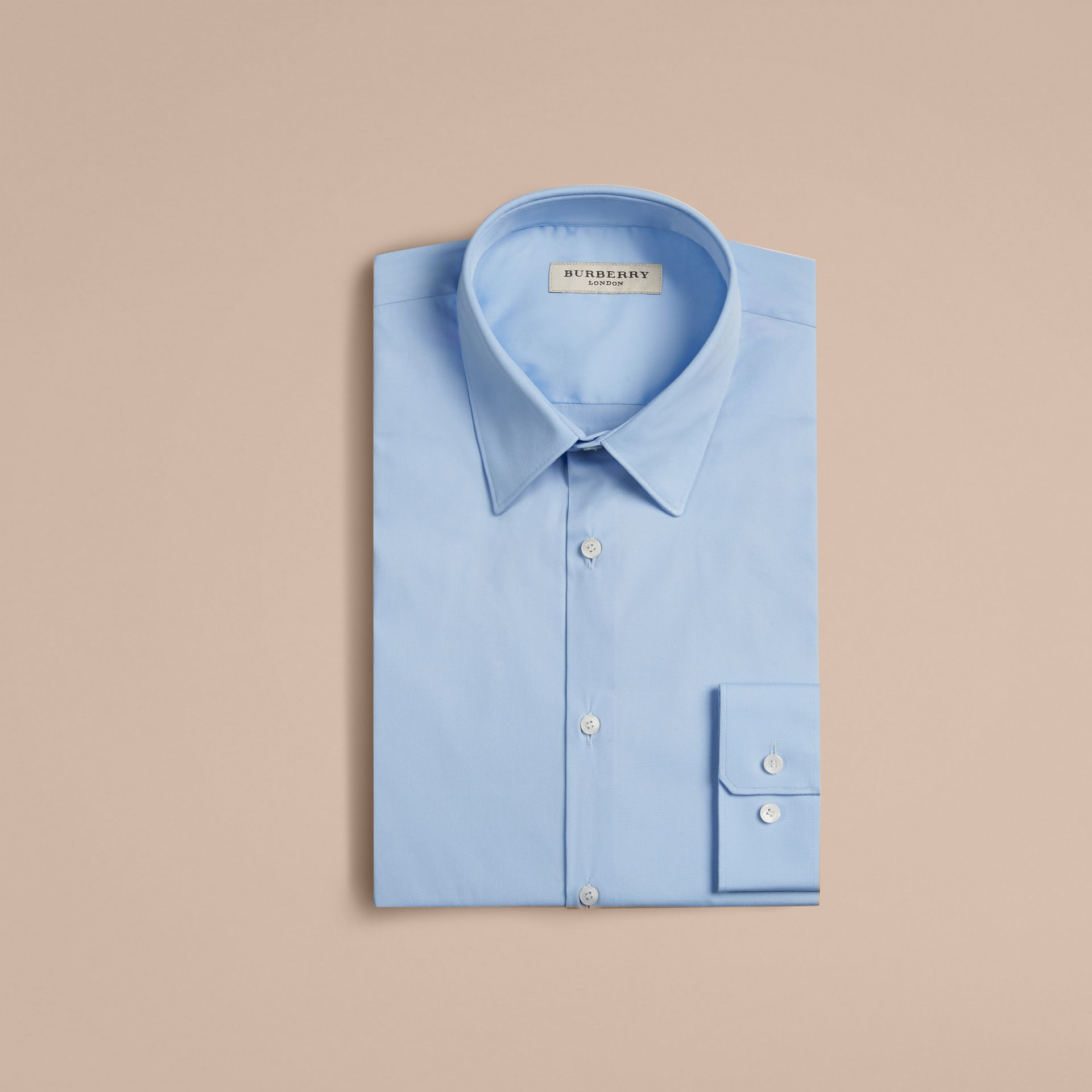 Slim Fit Stretch Cotton Shirt in City Blue - Men | Burberry Singapore - gallery image 4
