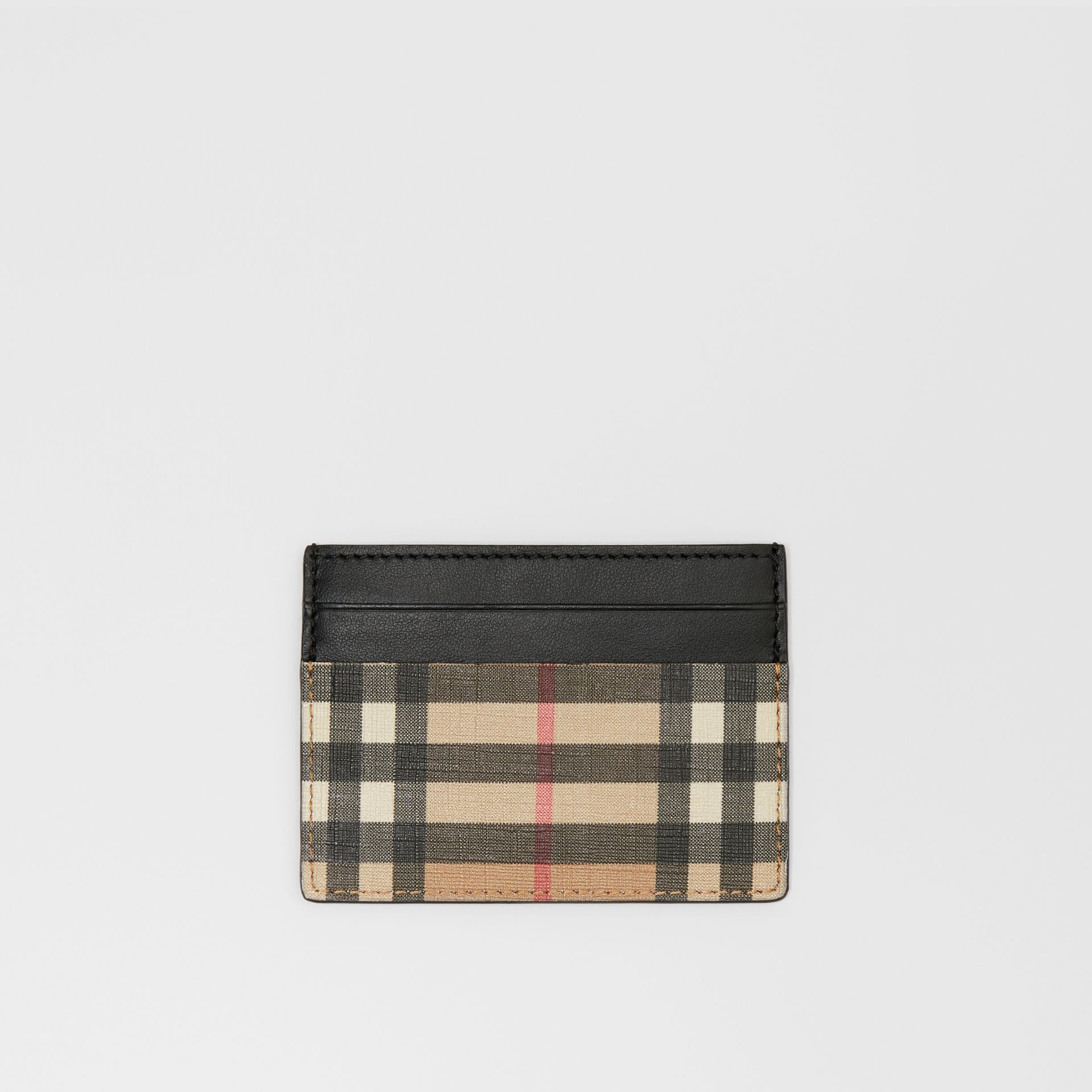 Vintage Check E-canvas and Leather Card Case in Archive Beige - Men | Burberry Hong Kong - gallery image 0