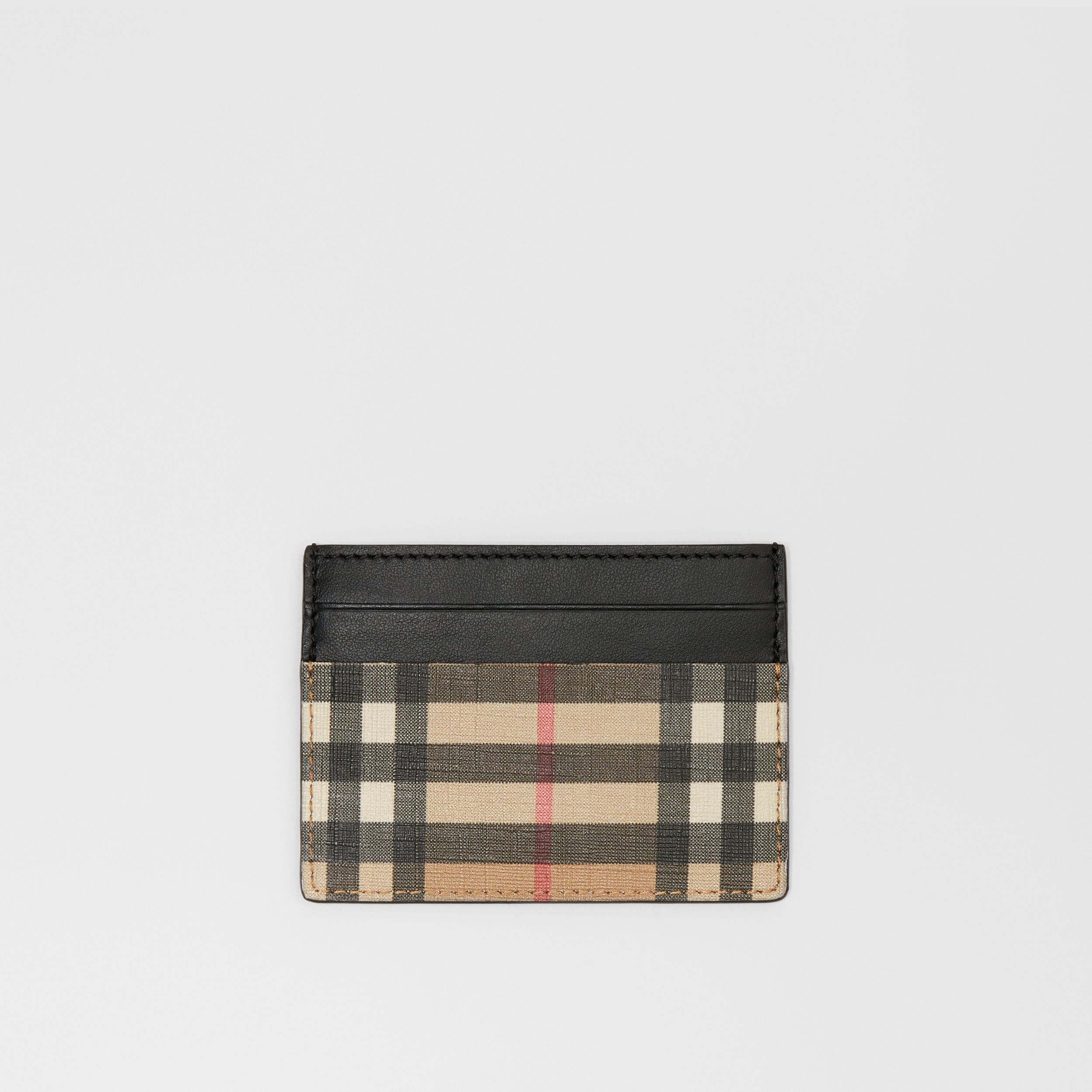Vintage Check E-canvas and Leather Card Case in Archive Beige - Men | Burberry - 1