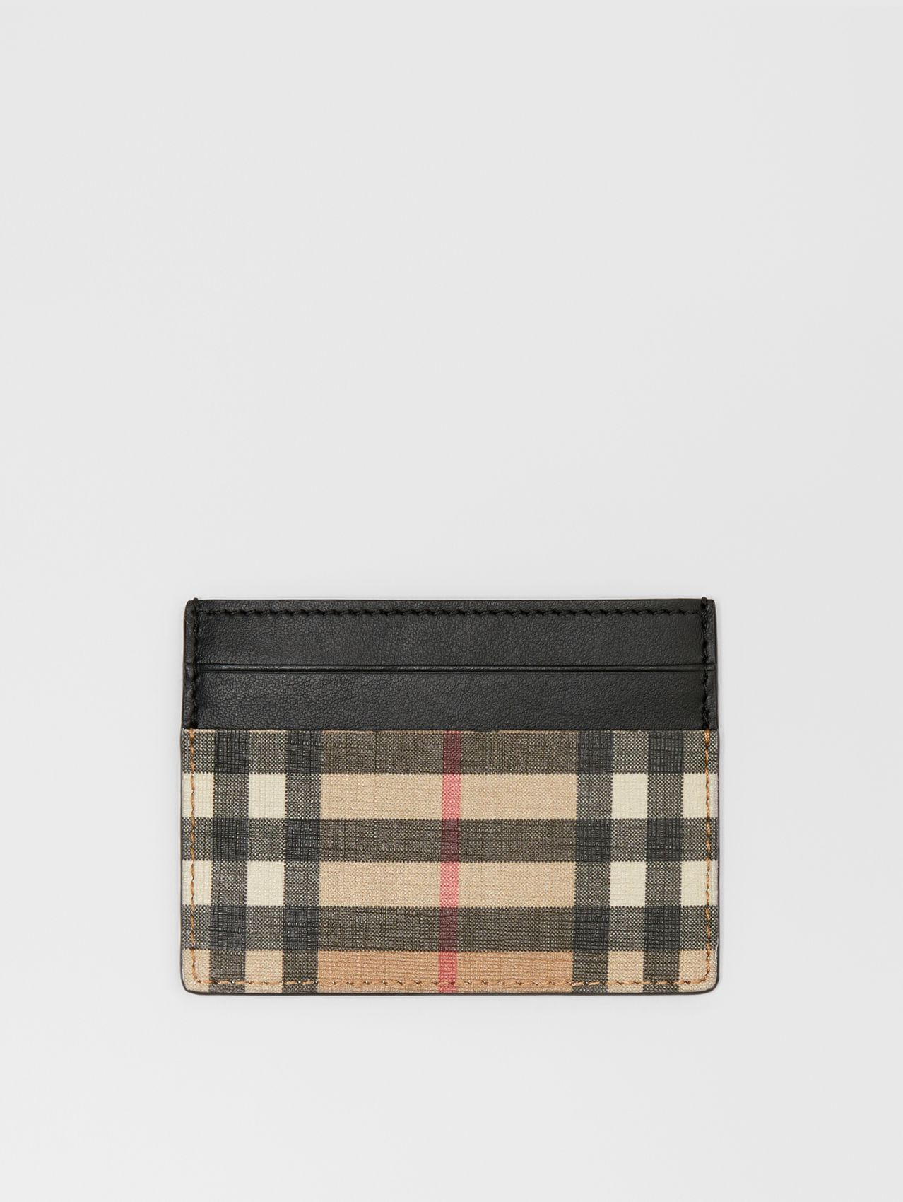 Vintage Check E-canvas and Leather Card Case (Archive Beige)
