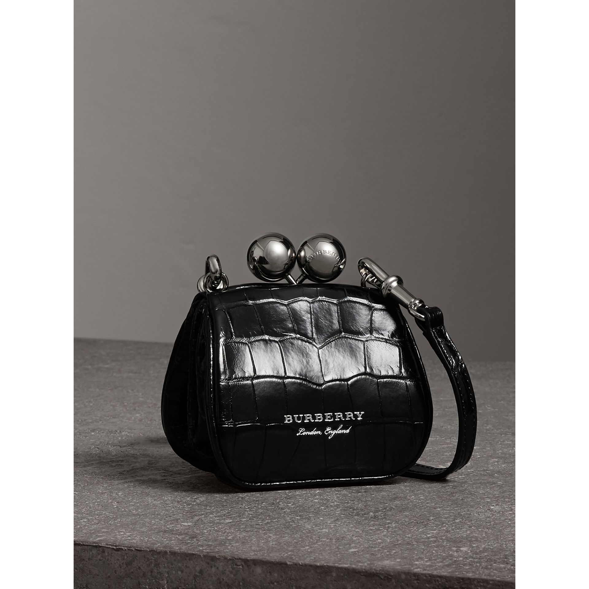 Mini Alligator Metal Frame Clutch Bag in Black - Women | Burberry - gallery image 6