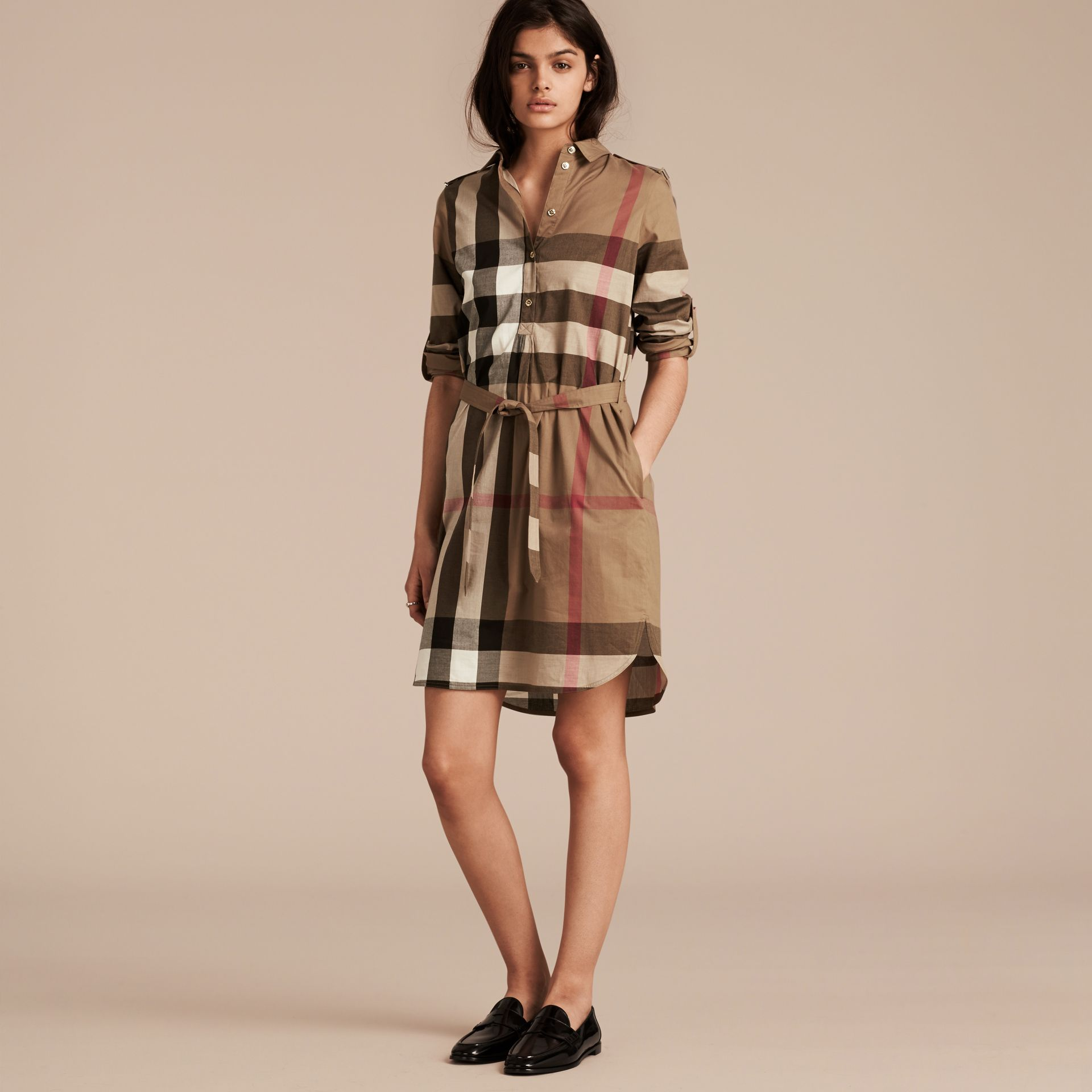 Check Cotton Shirt Dress in Taupe Brown - gallery image 6