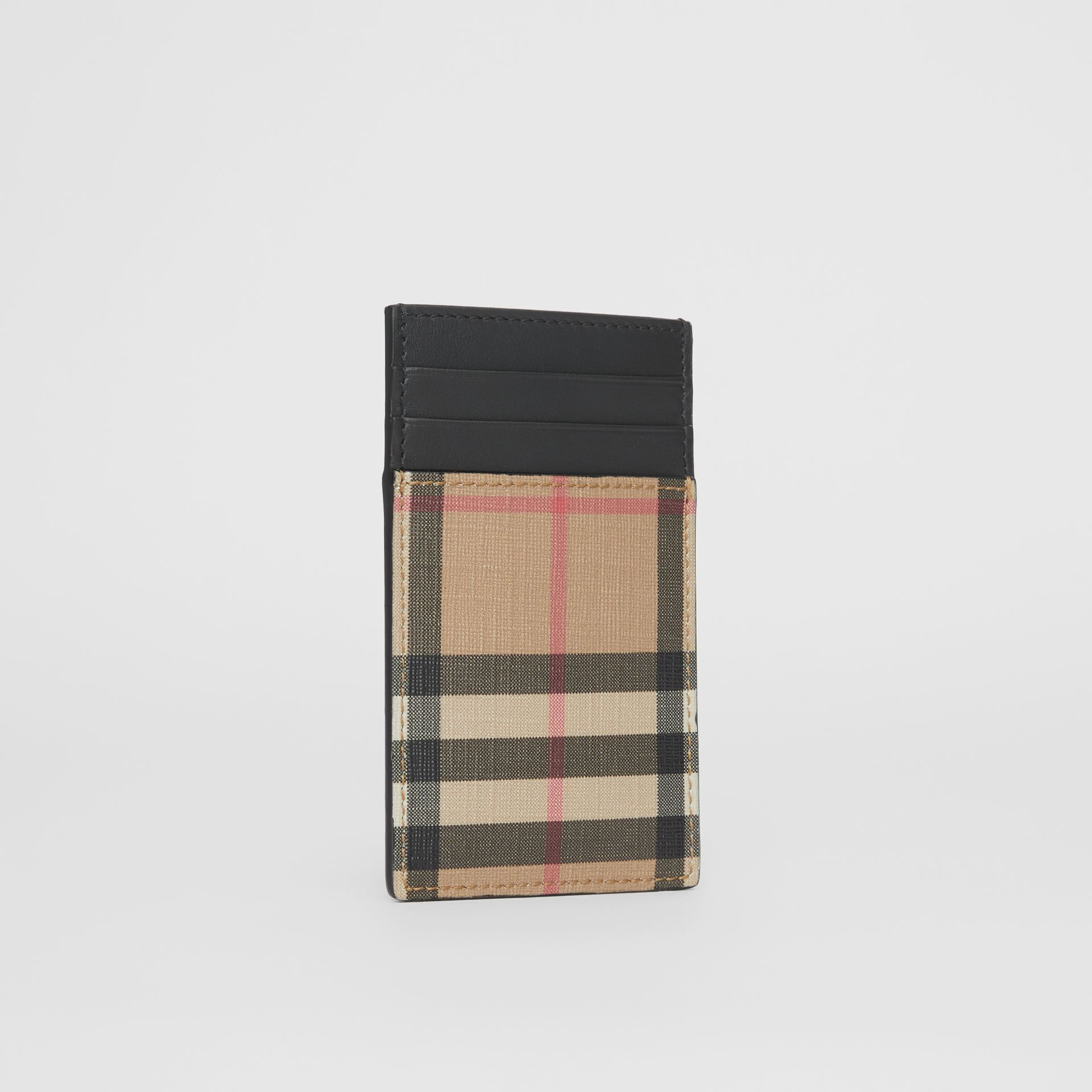 Vintage Check E-canvas and Leather Card Case in Archive Beige - Men | Burberry Singapore - gallery image 2