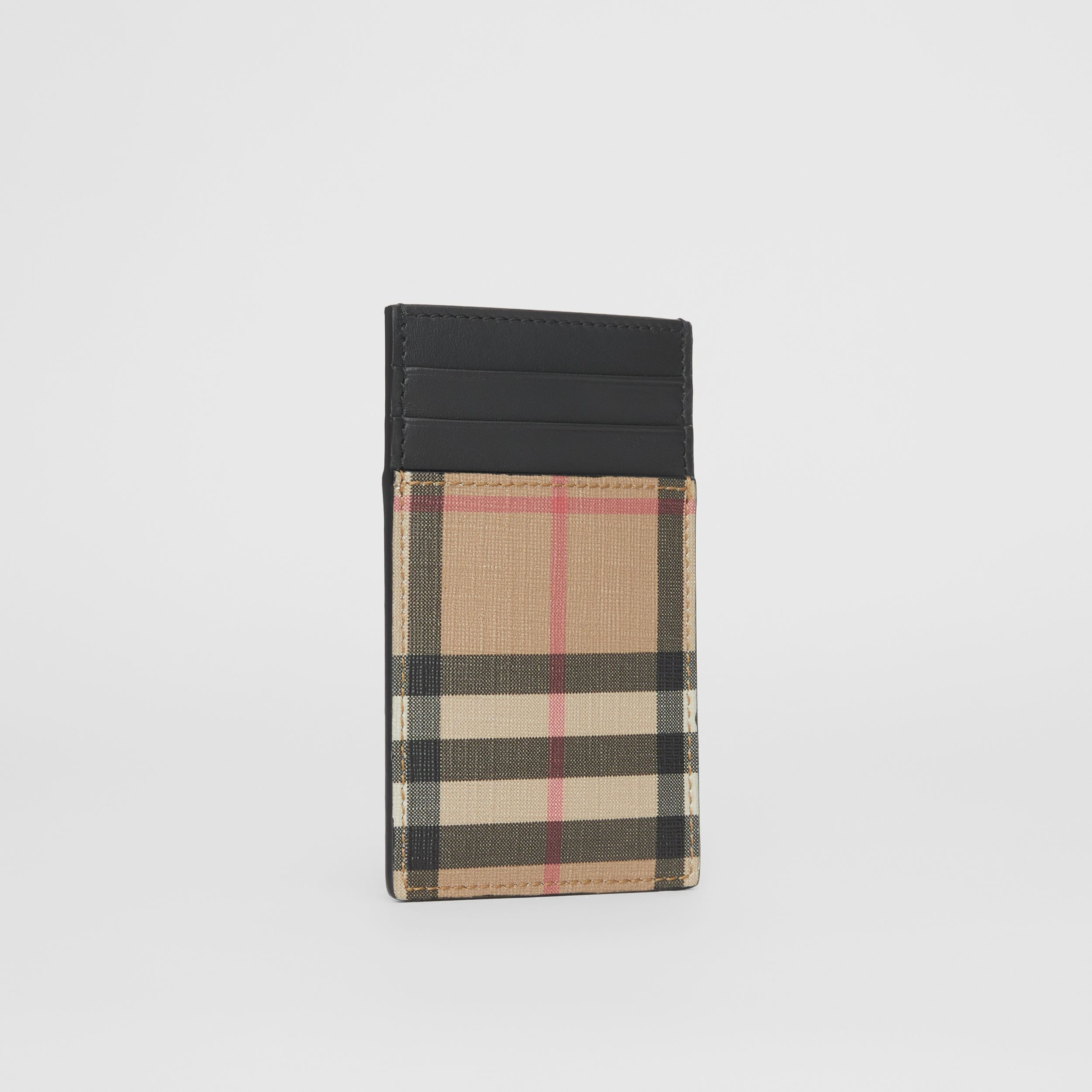 Vintage Check E-canvas and Leather Card Case in Archive Beige - Men | Burberry - 3