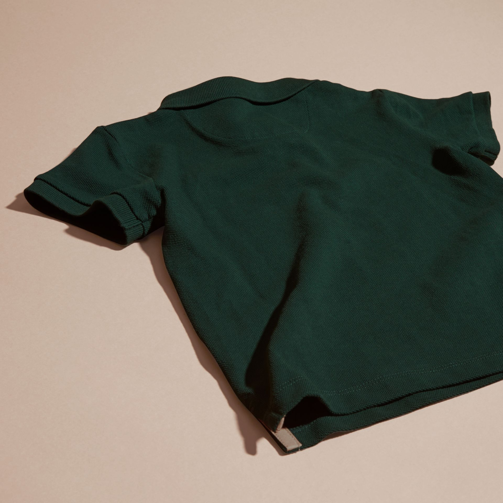 Racing green Check Placket Polo Shirt Racing Green - gallery image 4