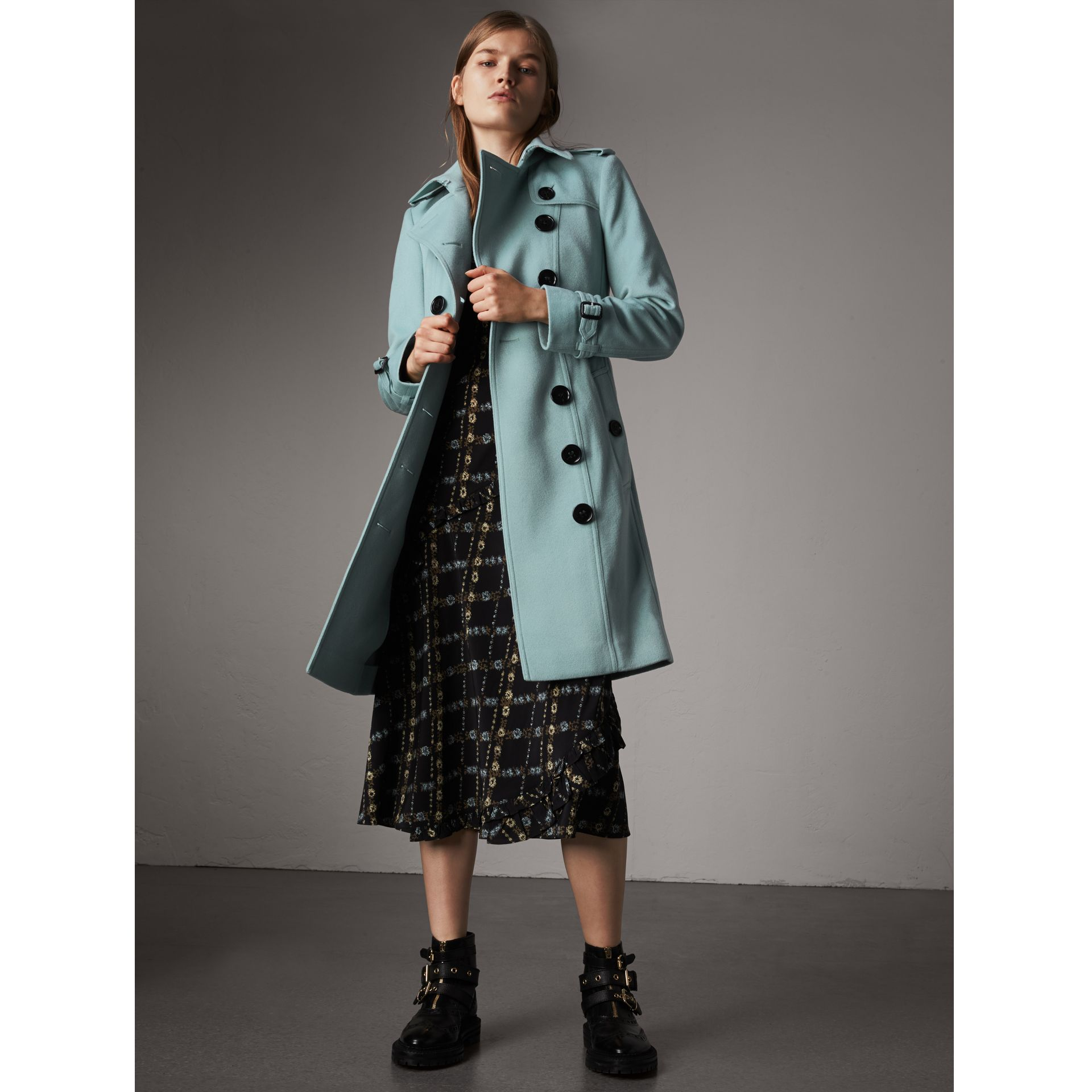Sandringham Fit Cashmere Trench Coat in Pale Mineral Blue - Women | Burberry - gallery image 1