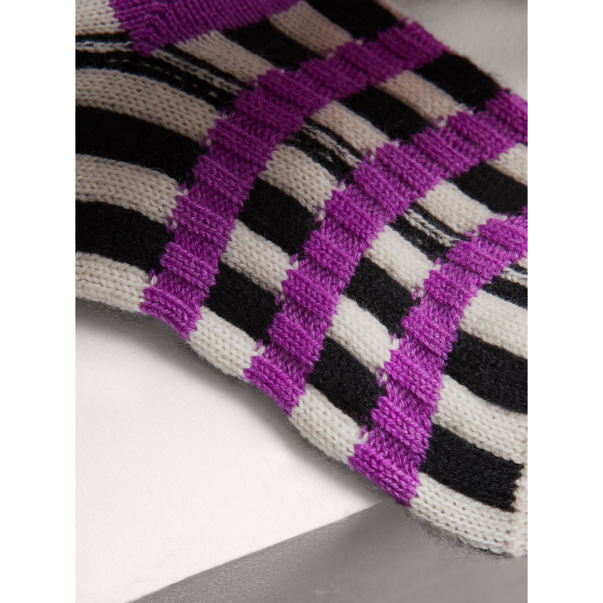 Fair Isle Wool Cashmere Patchwork Socks in Bright Lilac | Burberry - gallery image 1