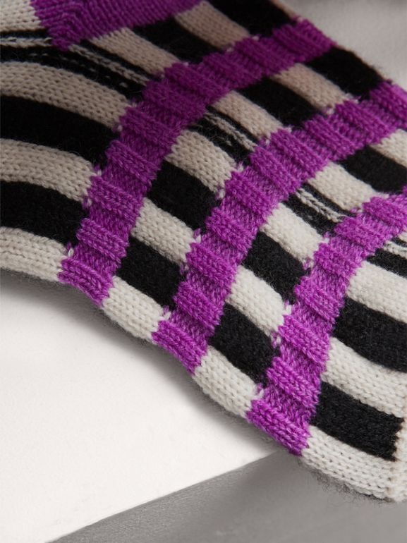 Fair Isle Wool Cashmere Patchwork Socks in Bright Lilac | Burberry - cell image 1