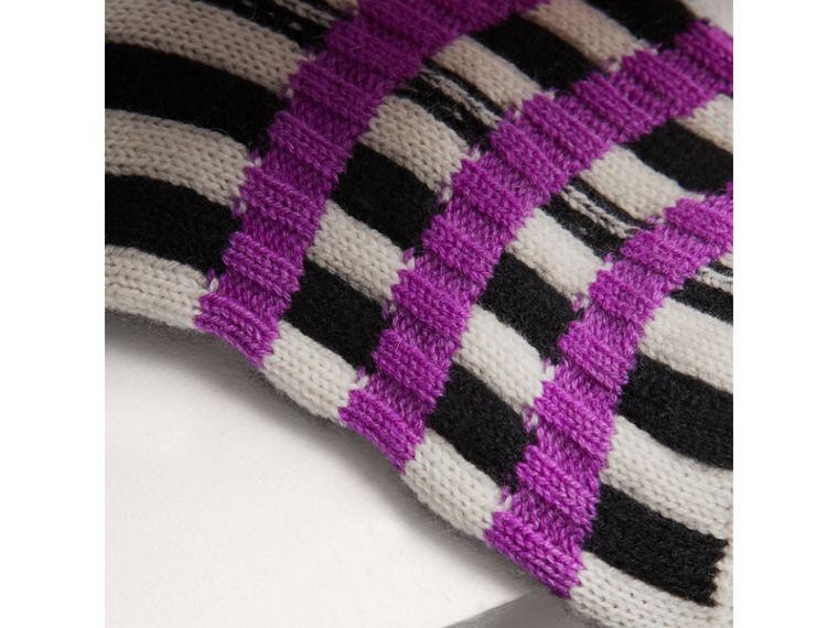 Fair Isle Wool Cashmere Patchwork Socks in Bright Lilac | Burberry United Kingdom - cell image 1