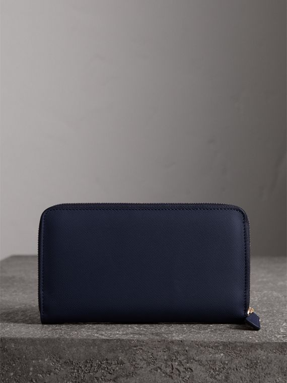 Trench Leather Ziparound Wallet in Ink Blue - Men | Burberry - cell image 2