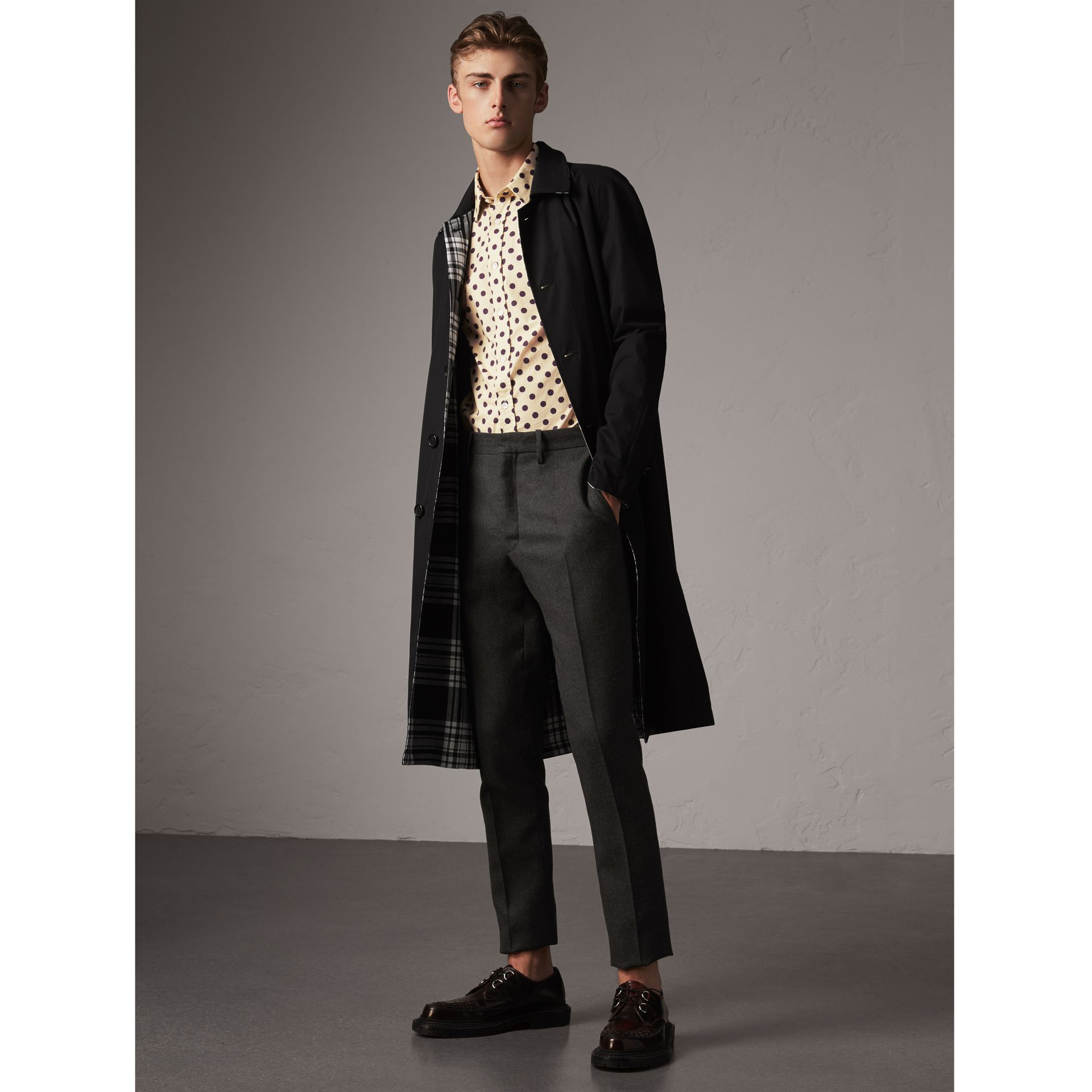 Reversible Gabardine and Tartan Wool Car Coat in Black - Men | Burberry - gallery image 0
