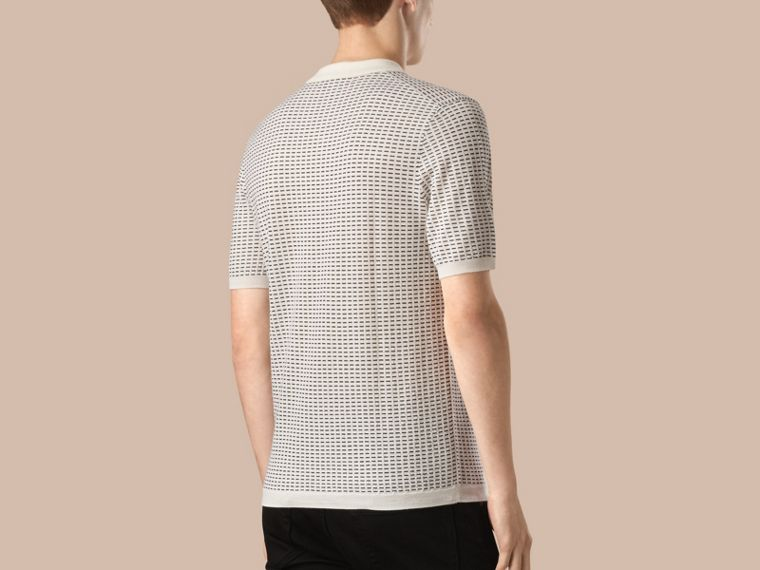 White Micro Pattern Wool Silk Polo Shirt - cell image 1