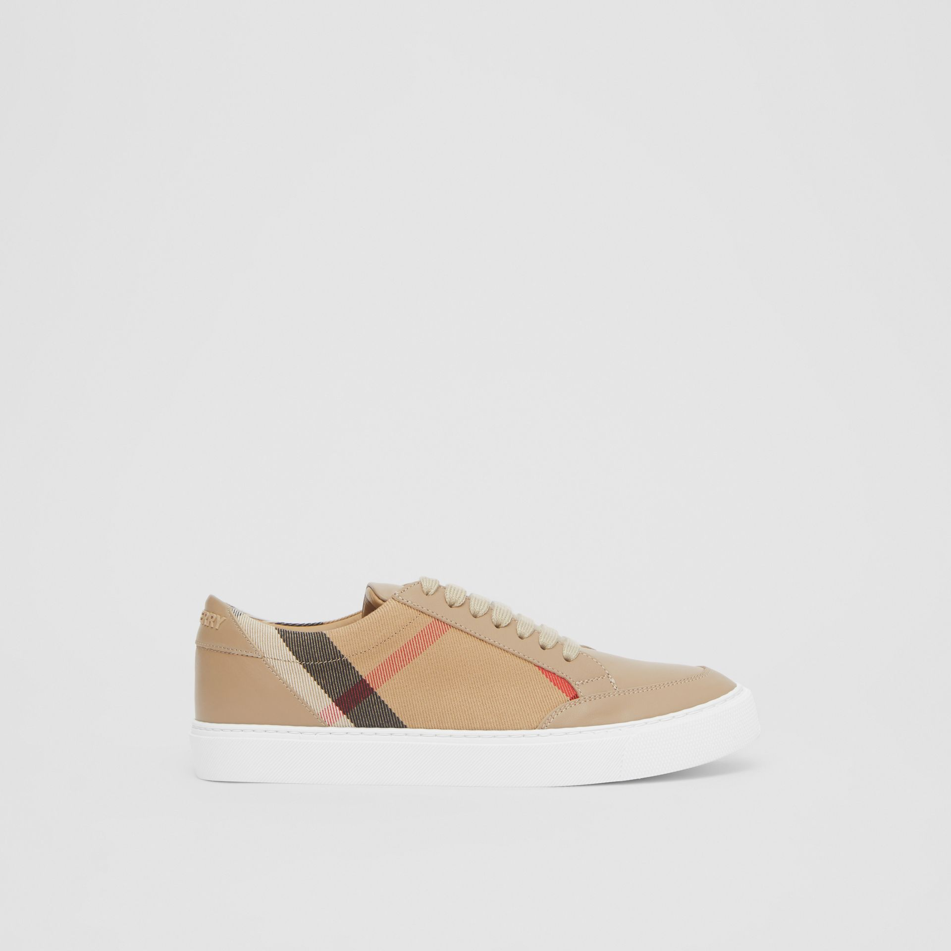 House Check and Leather Sneakers in Tan - Women | Burberry United Kingdom - gallery image 5