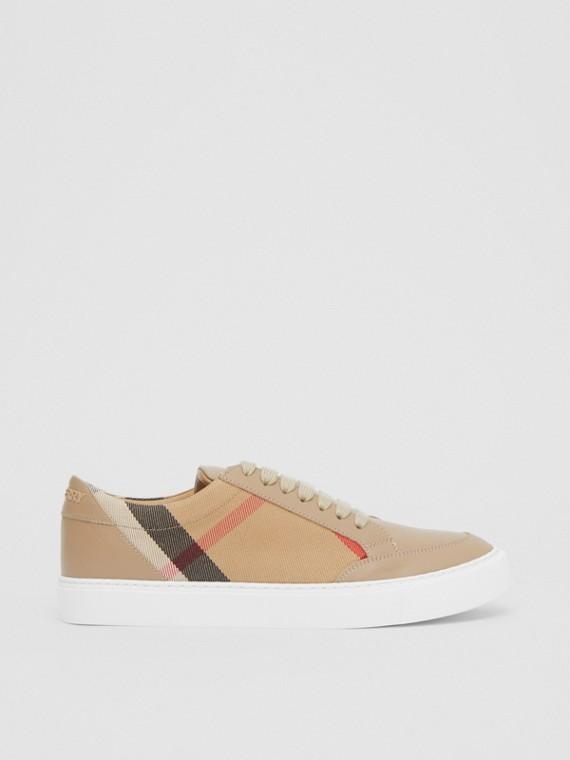 House 格紋皮革運動鞋 (棕褐色)