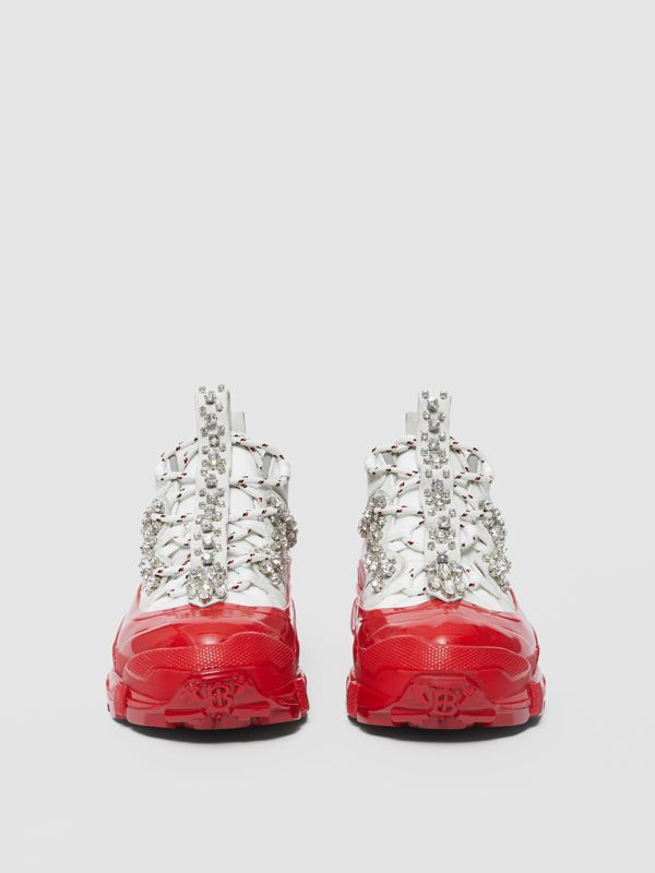 Crystal Detail Suede and Nylon Arthur Sneakers in White/red - Women | Burberry Singapore - cell image 3