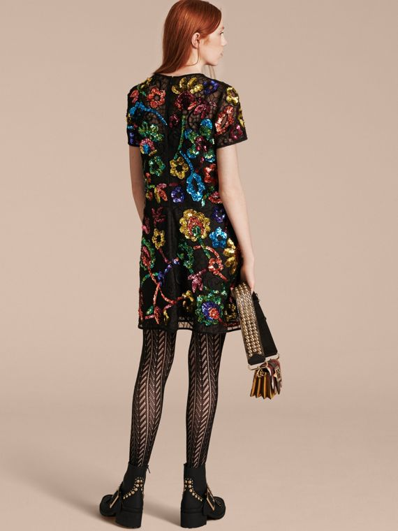 Black Guipure Lace Dress with Sequin Flowers - cell image 2