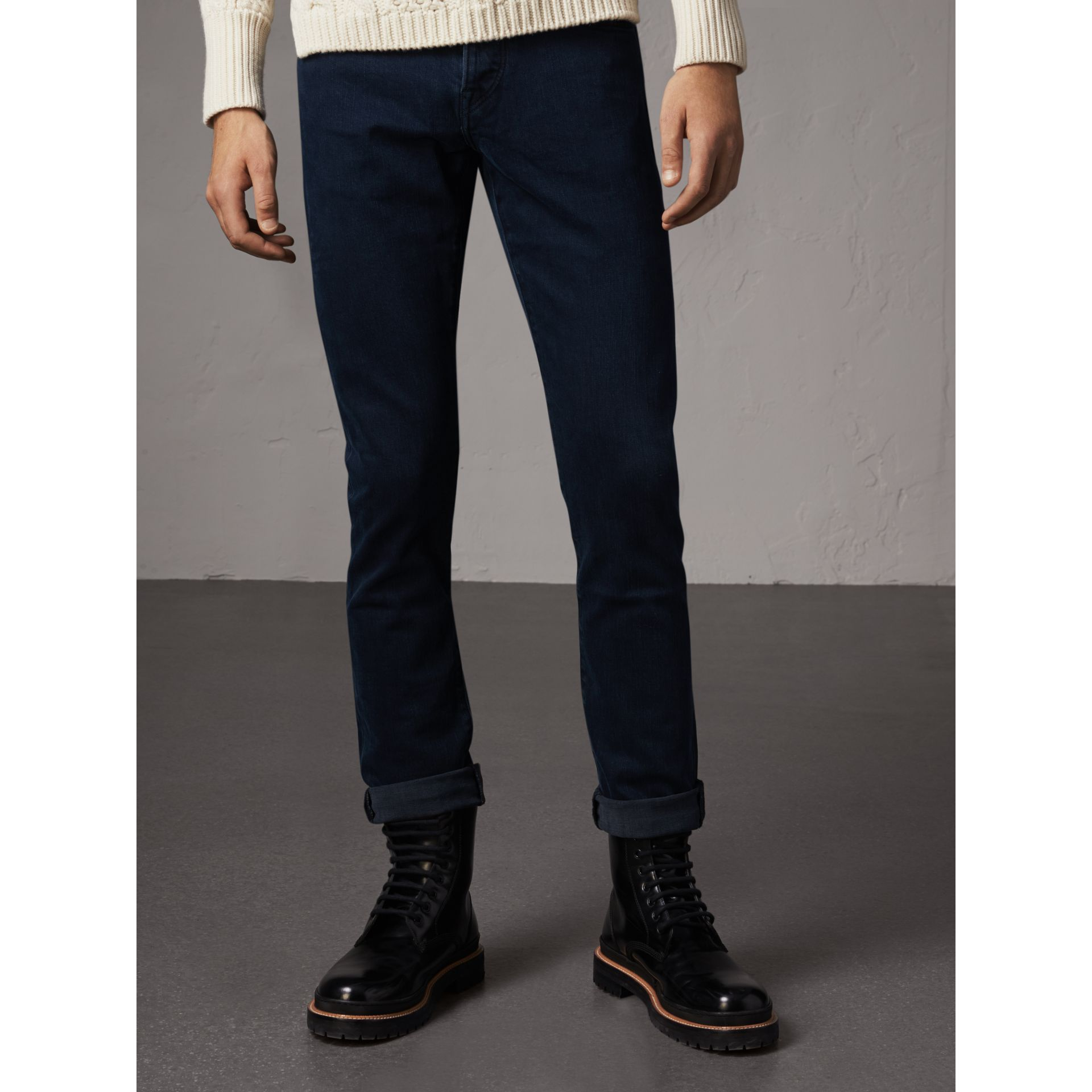 Straight Fit Indigo Stretch Jeans in Dark - Men | Burberry - gallery image 6
