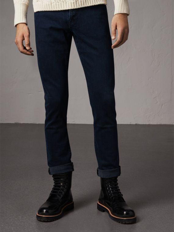 Straight Fit Stretch Denim Jeans in Dark Indigo