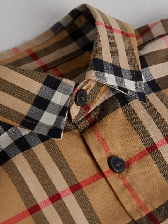 Short-sleeve Vintage Check Cotton Shirt in Antique Yellow | Burberry - cell image 1