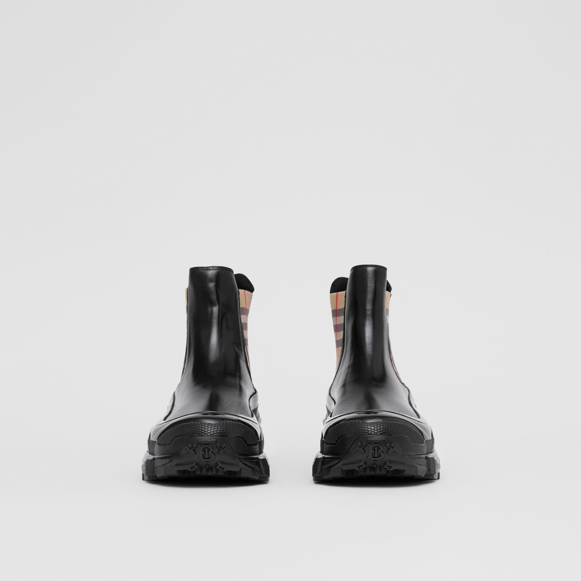 Vintage Check Detail Coated Canvas Chelsea Boots in Black - Men | Burberry - gallery image 3