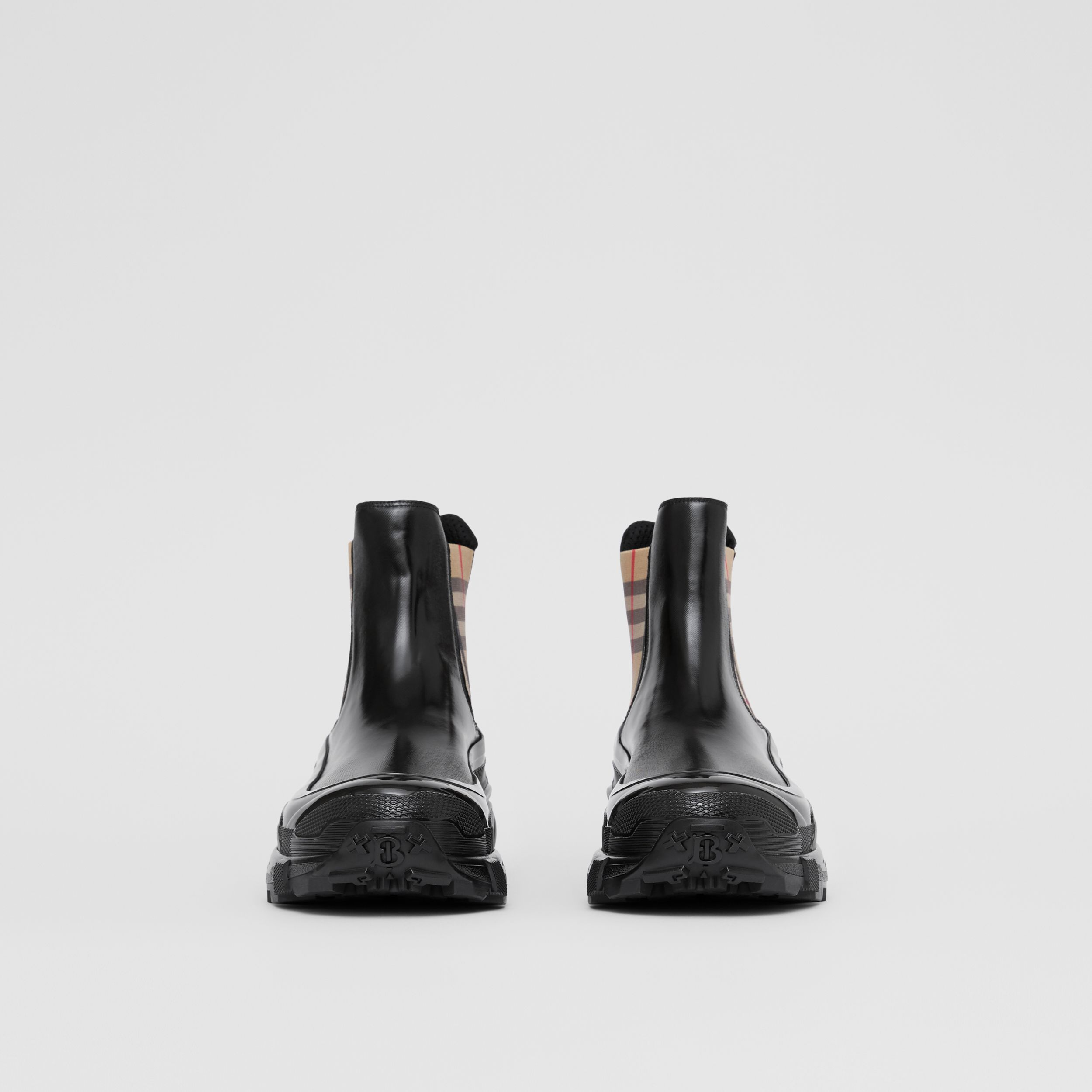 Vintage Check Detail Coated Canvas Chelsea Boots in Black - Men | Burberry United Kingdom - 4