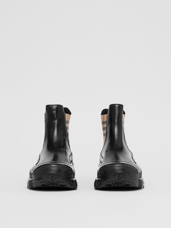 Vintage Check Detail Coated Canvas Chelsea Boots in Black - Men | Burberry - cell image 3