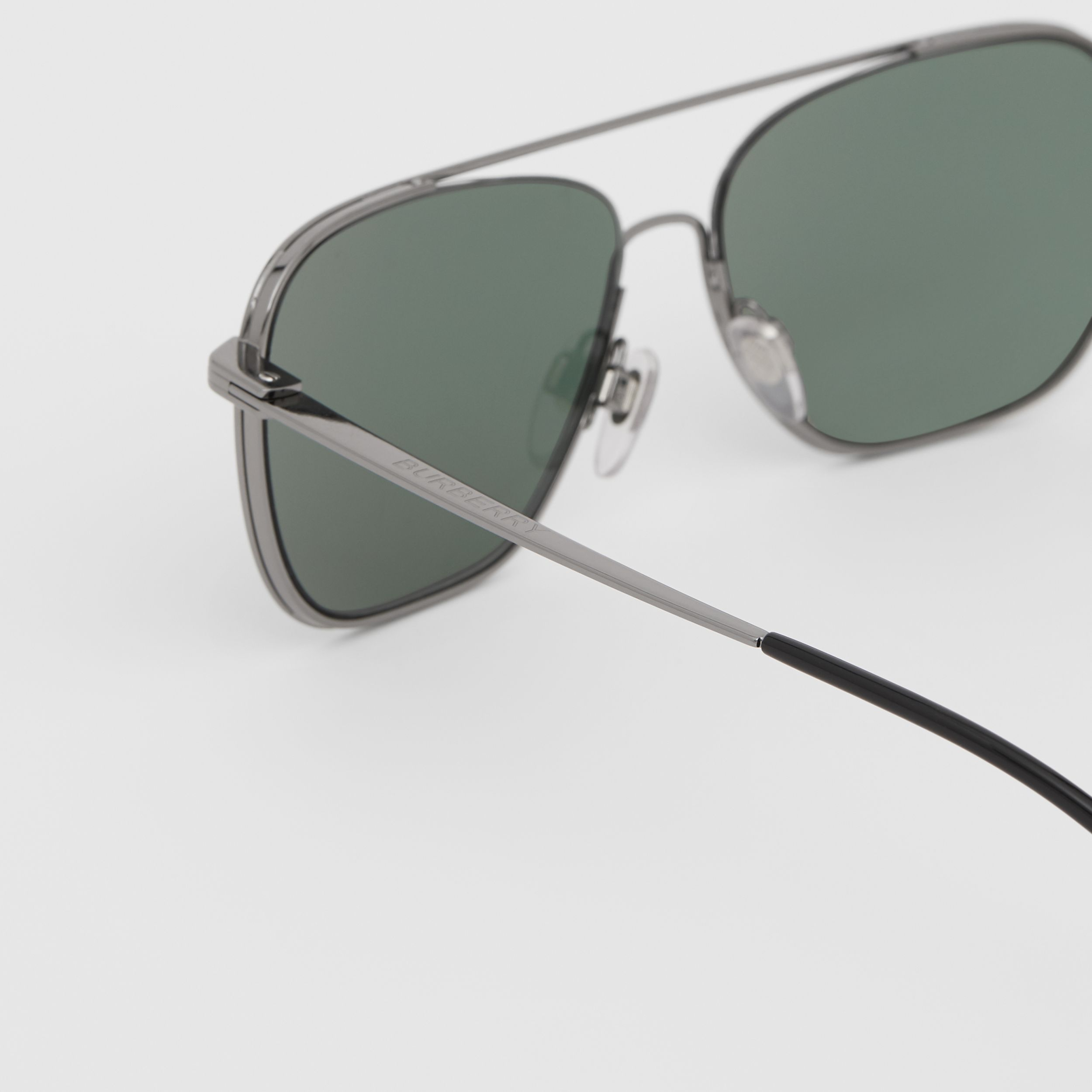 Top Bar Detail Square Frame Sunglasses in Silver - Men | Burberry - 2