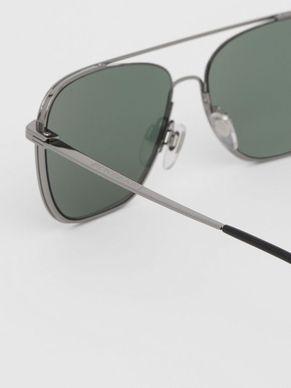 Top Bar Detail Square Frame Sunglasses in Silver - Men | Burberry - cell image 1