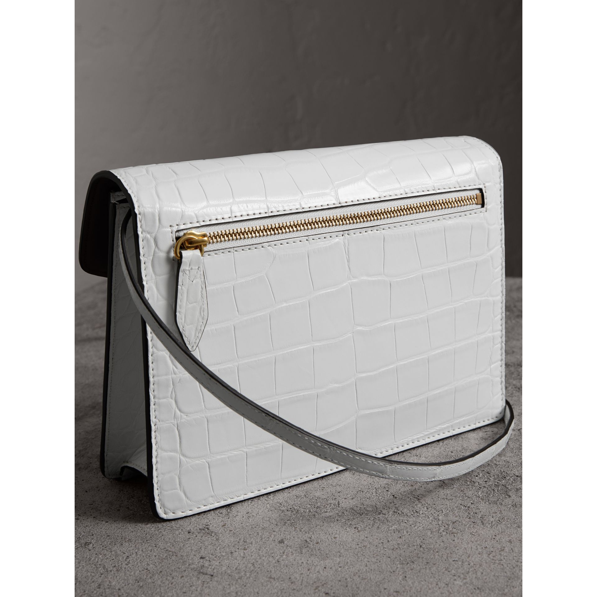 Small Alligator Crossbody Bag in Chalk White - Women | Burberry - gallery image 4